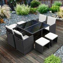 Lusso Salon de jardin encastrable 8 places en