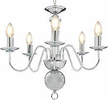 Lustre Argente 5 ampoules E14
