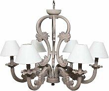 Lustre chandelier en bois avec finition turtledove