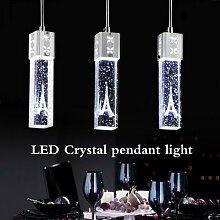 Lustre créatif en cristal avec la tour Eiffel,