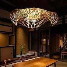 Lustre E27 Suspension En Bambou Rétro Lampe De
