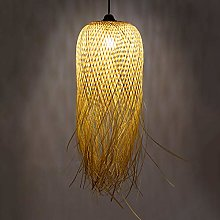 Lustre En Bambou Pendentif Lumières Tissé À La