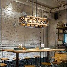 Lustre en bois industriel Vintage, luminaire