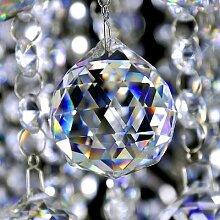 Lustre en forme de boule de verre à facettes de