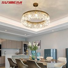 Lustre LED circulaire doré en cristal, design