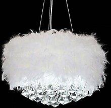 Lustre moderne en cristal de diamant plume blanche
