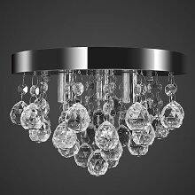 Lustre Plafonnier Contemporain Cristal Lampe Chrome