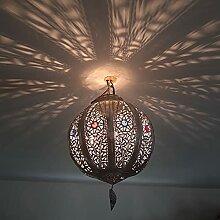 lustre plafonnier Marocain fer silver lampe de