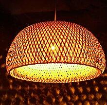 Lustre Rétro En Bambou Suspension Rotin Luminaire