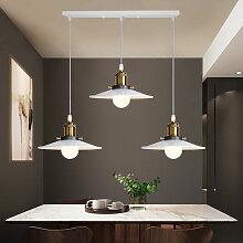 Lustre Suspension Blanc 3 Luminaires E27 Abat-jour
