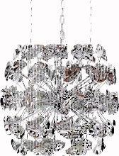 Lustre suspension boule design en métal chromé