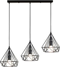 Lustre Suspension Industrielle de 3 lampes,
