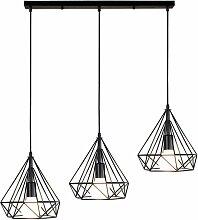 Lustre Suspension Industrielle de 3 lampes,