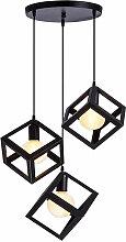 Lustre Suspension LED 3 Lampe Cube Carré en