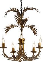 Lustre vintage doré à 5 lumières - Botanica