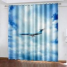 LWXBJX Rideaux Salon Moderne - Bleu Ciel Avion