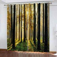 LWXBJX Rideaux Salon Moderne - Paysage de forêt