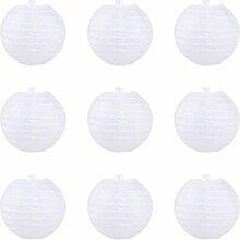 LY YL 9pc Lanterne Boule Chinoise en Papier Blanc