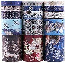 Lychii Washi Tape Set, 15 Rouleaux Ruban Adhésif