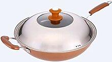 LYMUP Wok de cuisine en fer fin, style coréen,