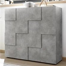 M-012 Buffet haut design gris effet béton DOMINOS