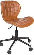 M&s - Chaise de bureau vintage en PU marron - OMG