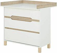 M&s - Commode 3 tiroirs et plan à langer blanc et
