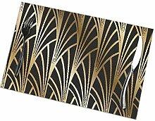 Mabell Art Nouveau Art Deco Gold Black Pattern