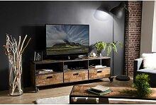 Macabane - ALIDA - Meuble TV à roulettes marron 3