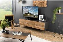 Macabane - Meuble TV bois 2 portes 1 tiroir Teck