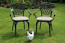 Made for us® Lot de 2 chaises de jardin en fonte