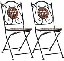 MAISON- 2 pcs Chaises de bar de jardin mosaïque