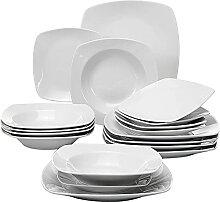 MALACASA Julia 18pcs Assiettes Porcelaines,
