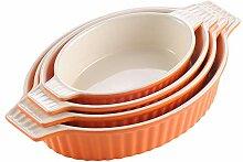 MALACASA Série Bake 4pcs Plat à Four Porcelaine
