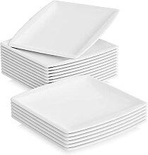 MALACASA, Série Blance, 18pcs Assiettes Plates,
