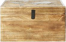 Malle en manguier motif carte du monde en relief