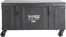 Malle indus à roulettes en métal noire L 85 cm