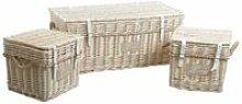 Malles carrées en osier blanchi (lot de 3)