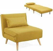 Maora - fauteuil convertible en tissu jaune