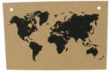 Map monde liège naturel 90x60cm