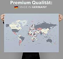 Mappemonde murale - Carte du monde - Tableau mural