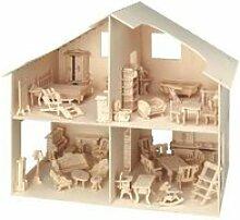 Maquette bois - maison de poupées avec accessoires