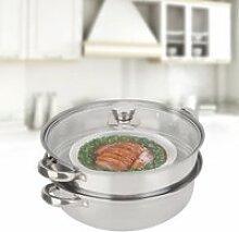 Marmite à vapeur en acier, batterie de cuisine en