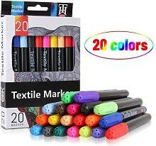 Marqueur Textile, 20 couleurs, stylo pour tissu