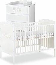 MARSELL Ensemble commode à langer + lit bébé