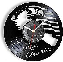 MASERTT God Bless America Horloge Murale en Vinyle