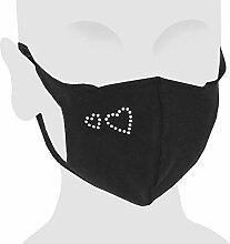 Masque de nez de bouche MNS en coton noir Crystal,