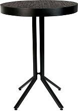 Maze - Table de bar ronde en bois et métal H110cm