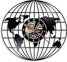 MBKYSZ Carte du Monde Vinyle Horloge Murale Record