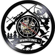 MBKYSZ Chasse Gun Club décoration Vinyle Horloge
